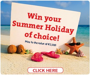 """Win your summer holiday of choice"".  This prize is to the value of €2,000 and the winner will be drawn on 15th July"